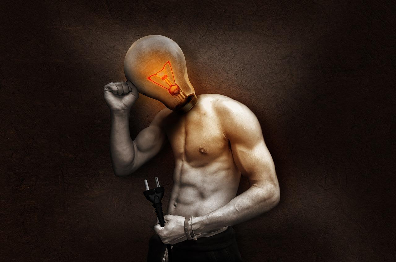 man with a bulb head